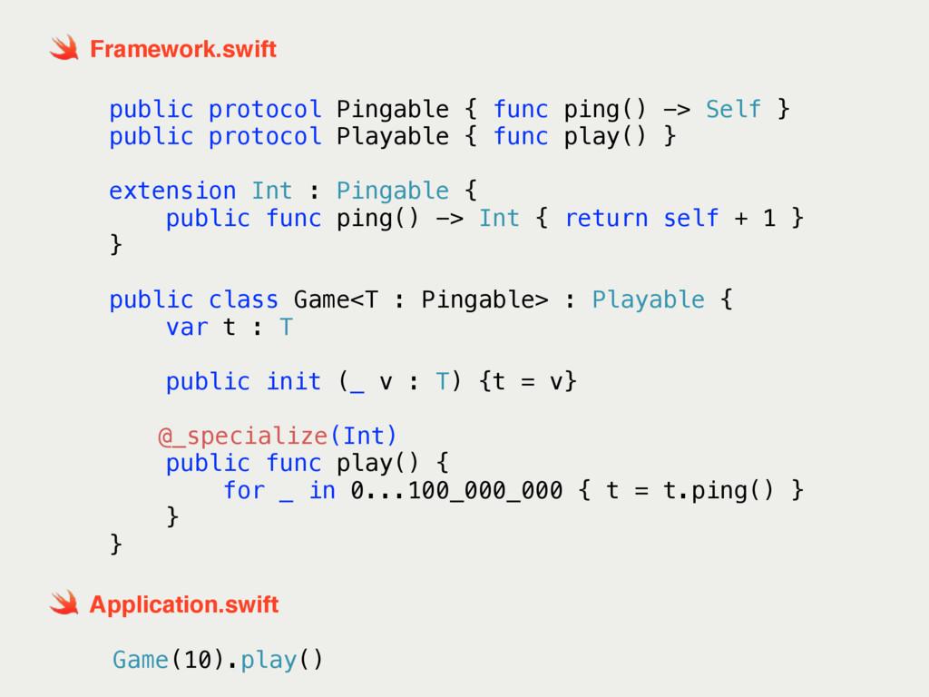 public protocol Pingable { func ping() -> Self ...