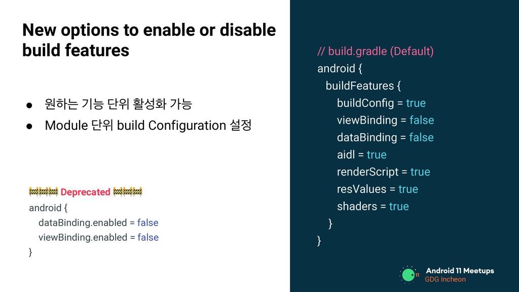 // build.gradle (Default) android { buildFeatur...