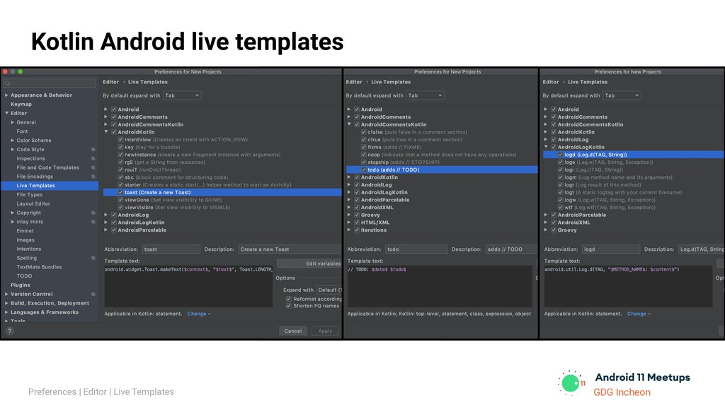 GDG Incheon Kotlin Android live templates Prefe...