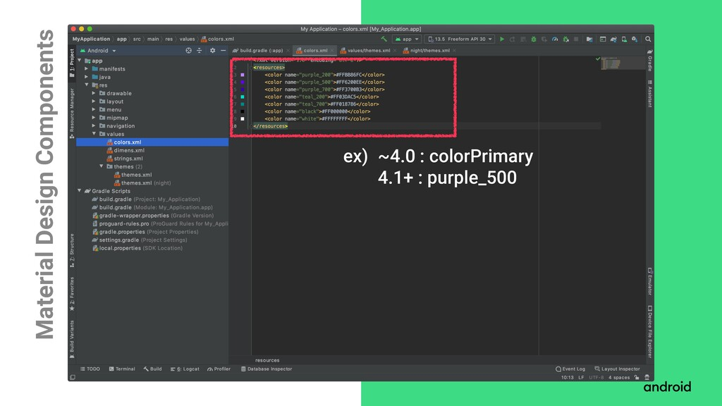 Material Design Components ~4.0 : colorPrimary ...
