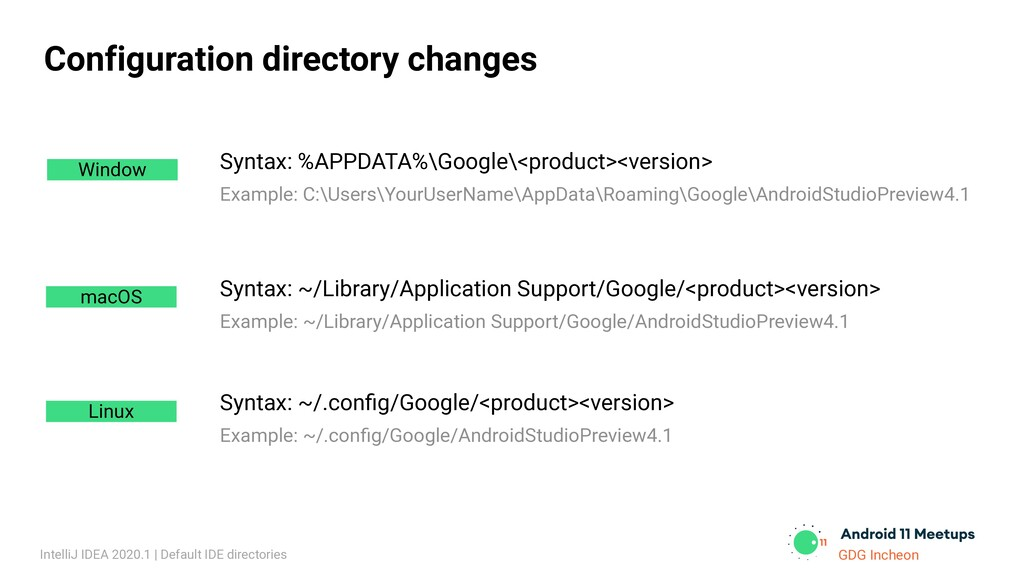 GDG Incheon Configuration directory changes Win...