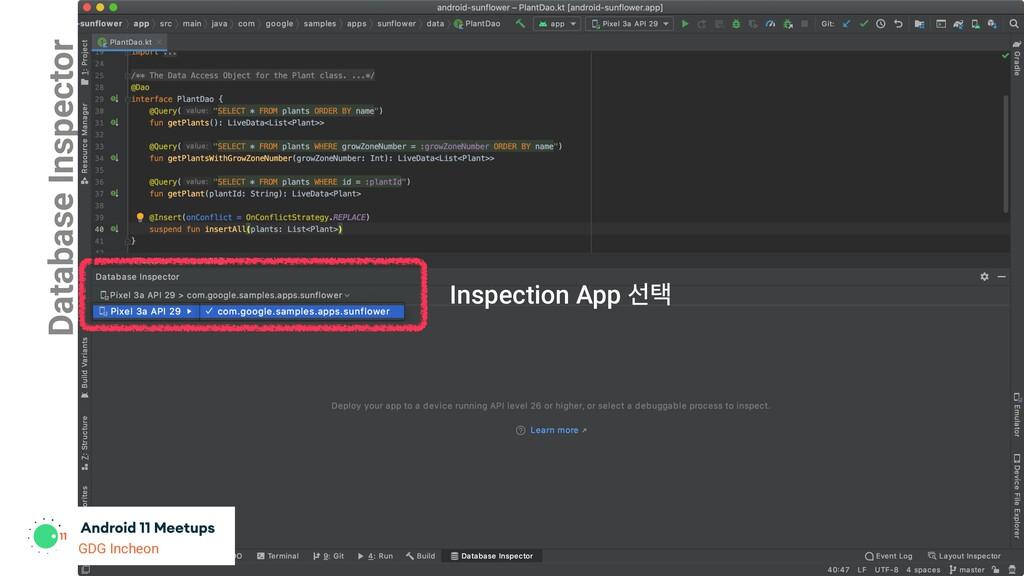 Database Inspector Inspection App ࢶఖ GDG Incheon