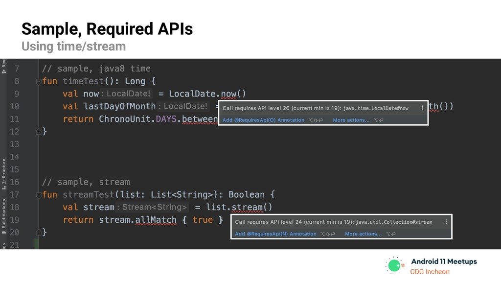 GDG Incheon Sample, Required APIs Using time/st...