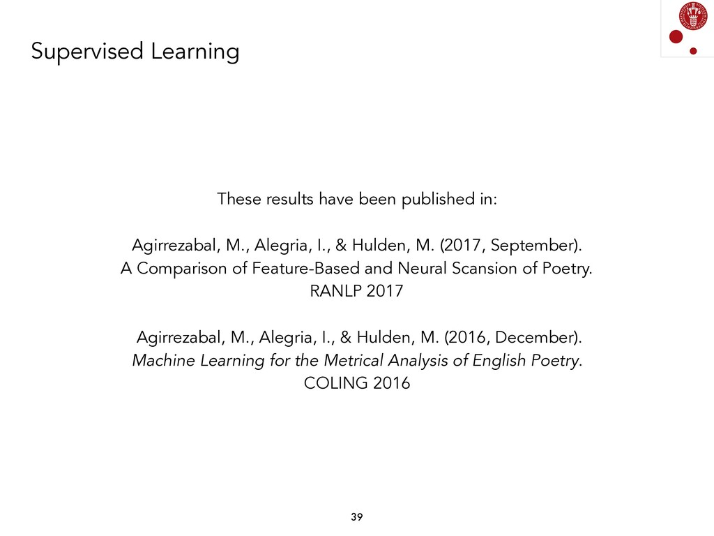 Supervised Learning These results have been pub...