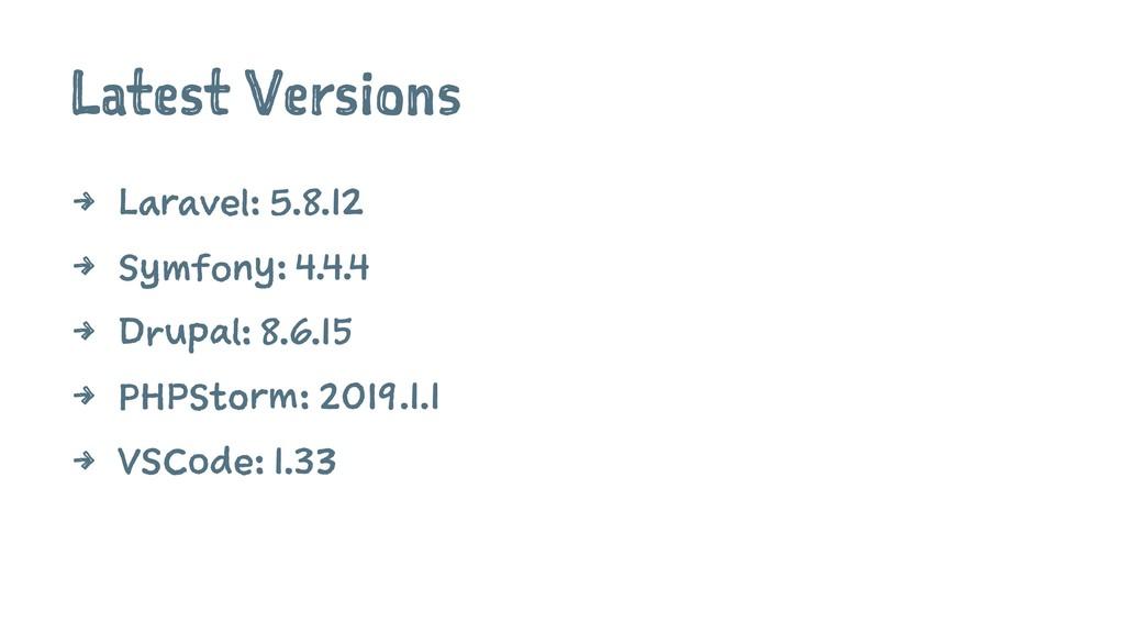Latest Versions 4 Laravel: 5.8.12 4 Symfony: 4....