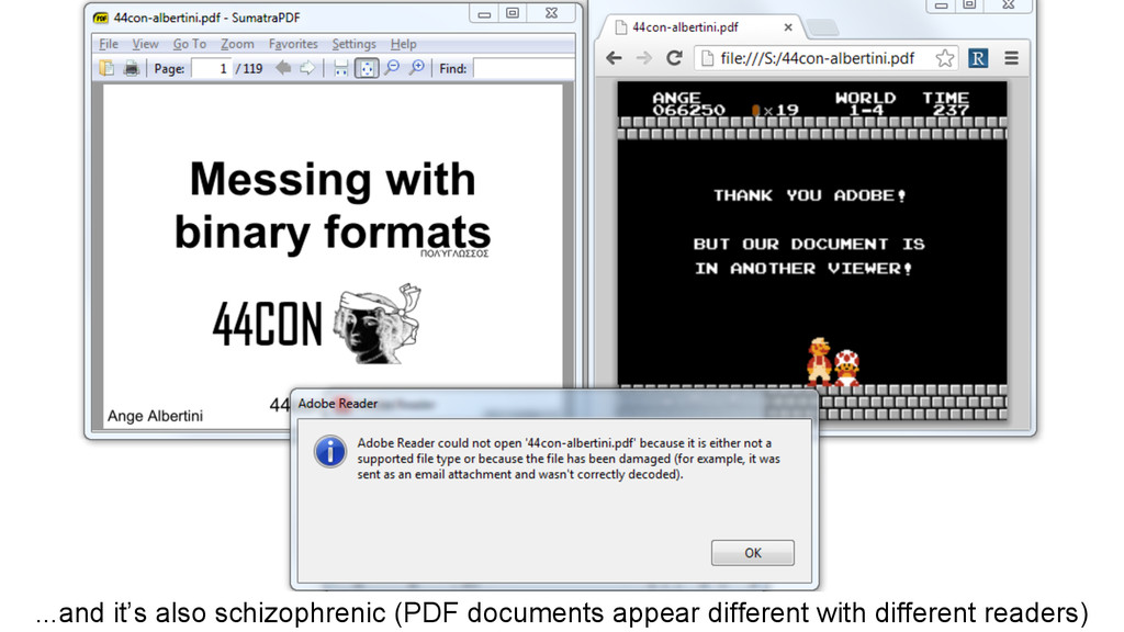 ...and it's also schizophrenic (PDF documents a...