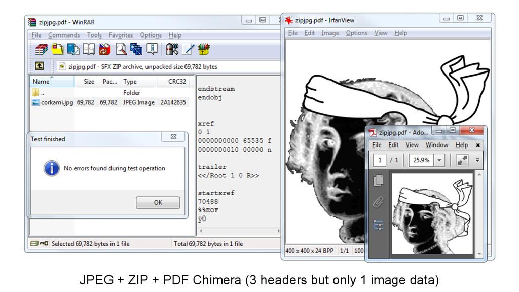JPEG + ZIP + PDF Chimera (3 headers but only 1 ...