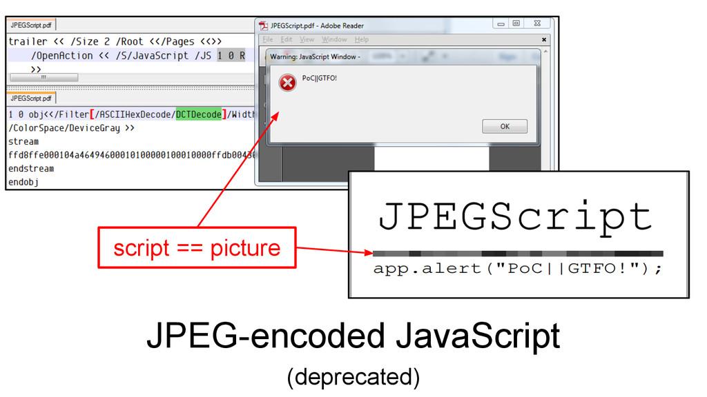 JPEG-encoded JavaScript (deprecated) script == ...