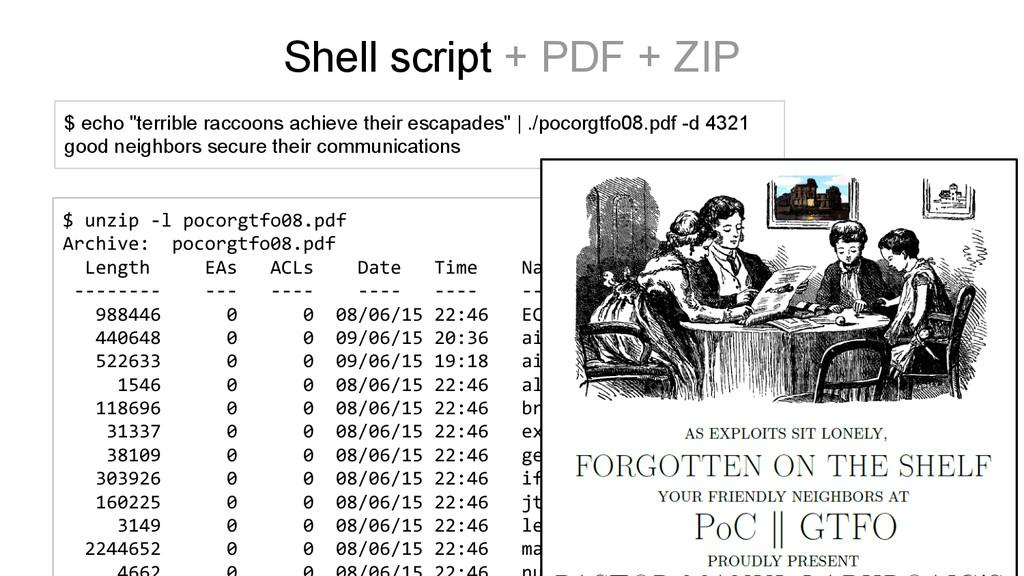 $ unzip -l pocorgtfo08.pdf Archive: pocorgtfo08...