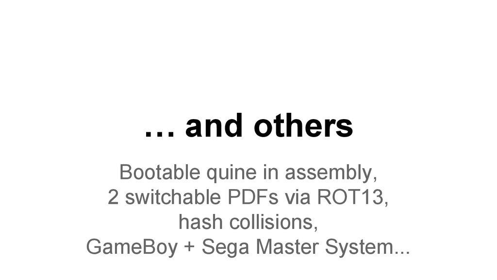 … and others Bootable quine in assembly, 2 swit...