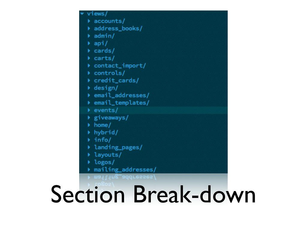 Section Break-down