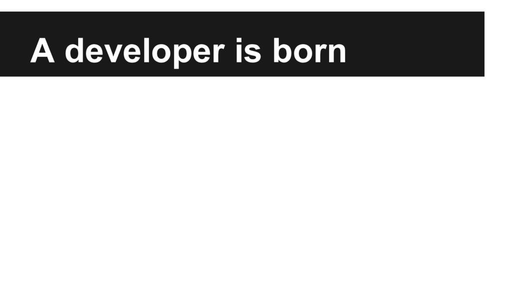 A developer is born