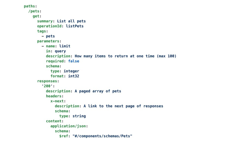 paths: /pets: get: summary: List all pets opera...