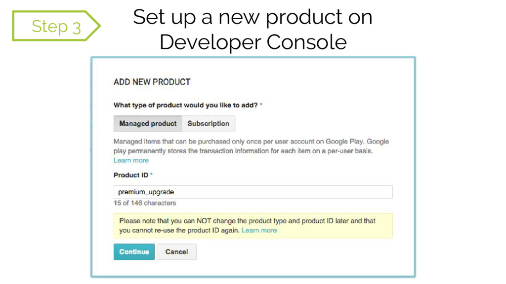 Set up a new product on Developer Console 1Step...