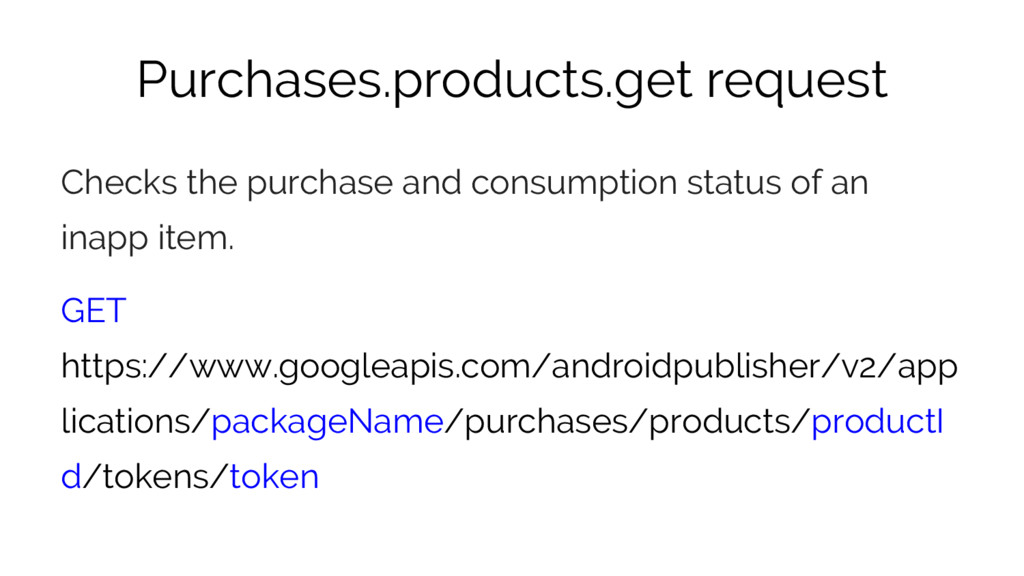 Purchases.products.get request Checks the purch...