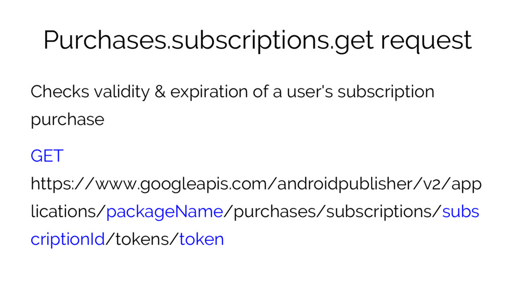 Purchases.subscriptions.get request Checks vali...