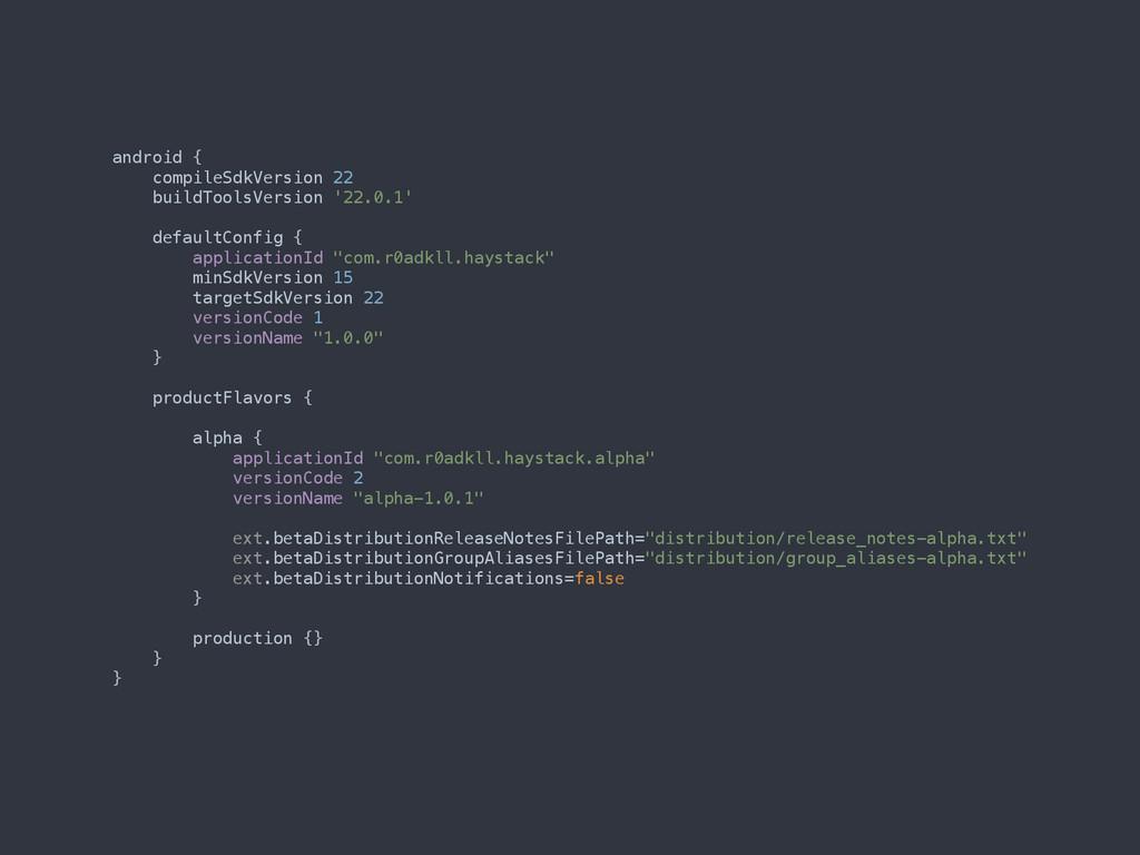 android { compileSdkVersion 22 buildToolsVers...