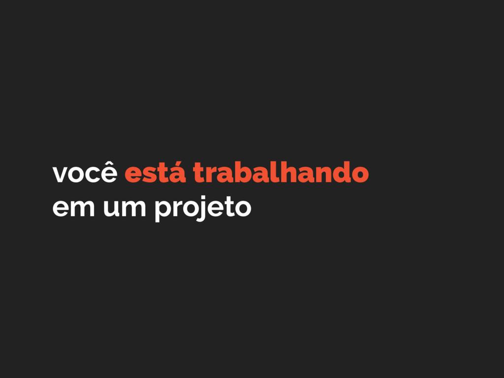 você está trabalhando em um projeto