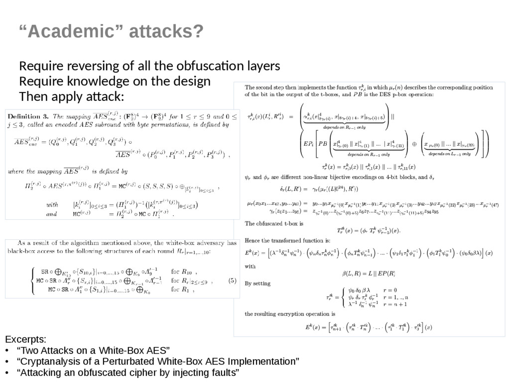 """""""Academic"""" attacks? Require reversing of all th..."""