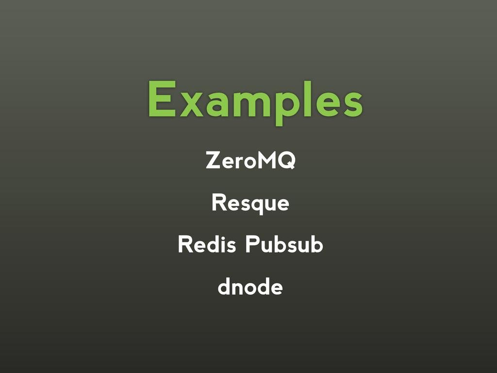 ZeroMQ Resque Redis Pubsub dnode Examples