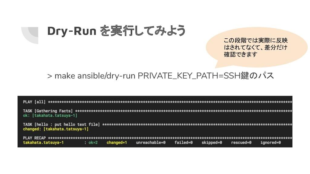 Dry-Run を実行してみよう > make ansible/dry-run PRIVATE...