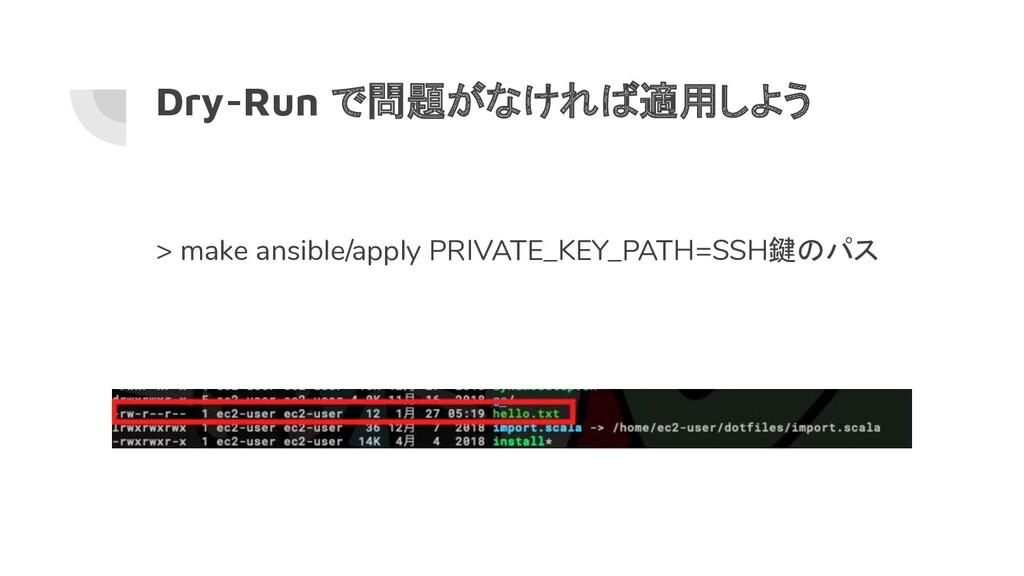 Dry-Run で問題がなければ適用しよう > make ansible/apply PRIV...