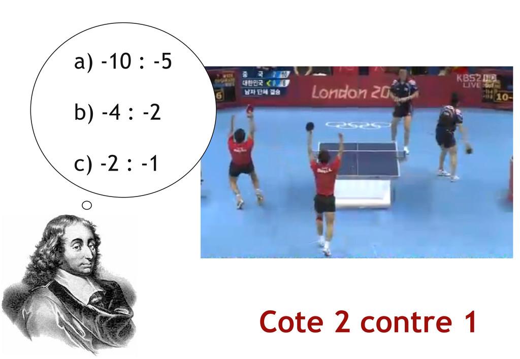 a) ‐10 : ‐5 b) ‐4 : ‐2 c) ‐2 : ‐1 Cote 2 contre...