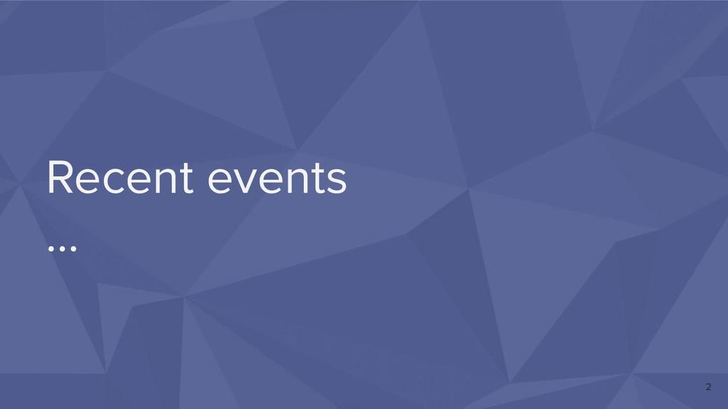 Recent events … 2