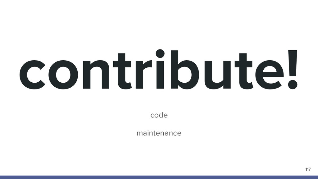 contribute! code maintenance 117