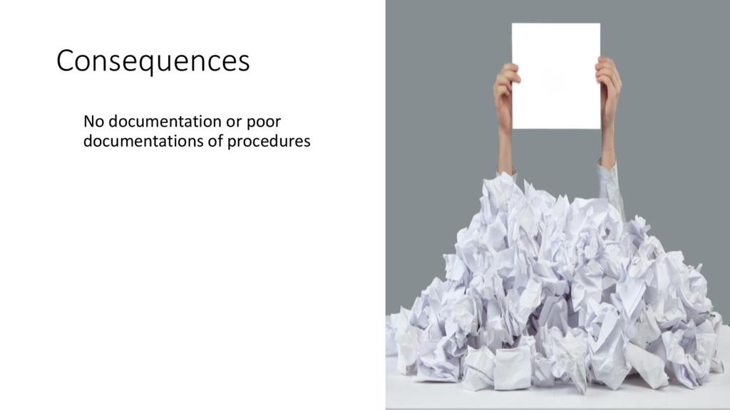 Consequences No documentation or poor documenta...