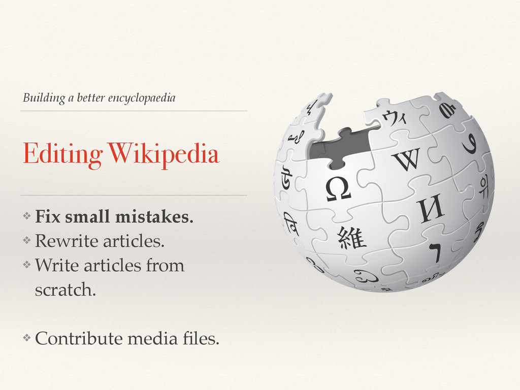 Building a better encyclopaedia Editing Wikiped...