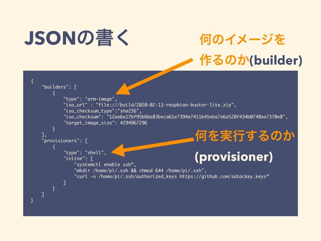 "JSONͷॻ͘ { ""builders"": [ { ""type"": ""arm-image"", ..."