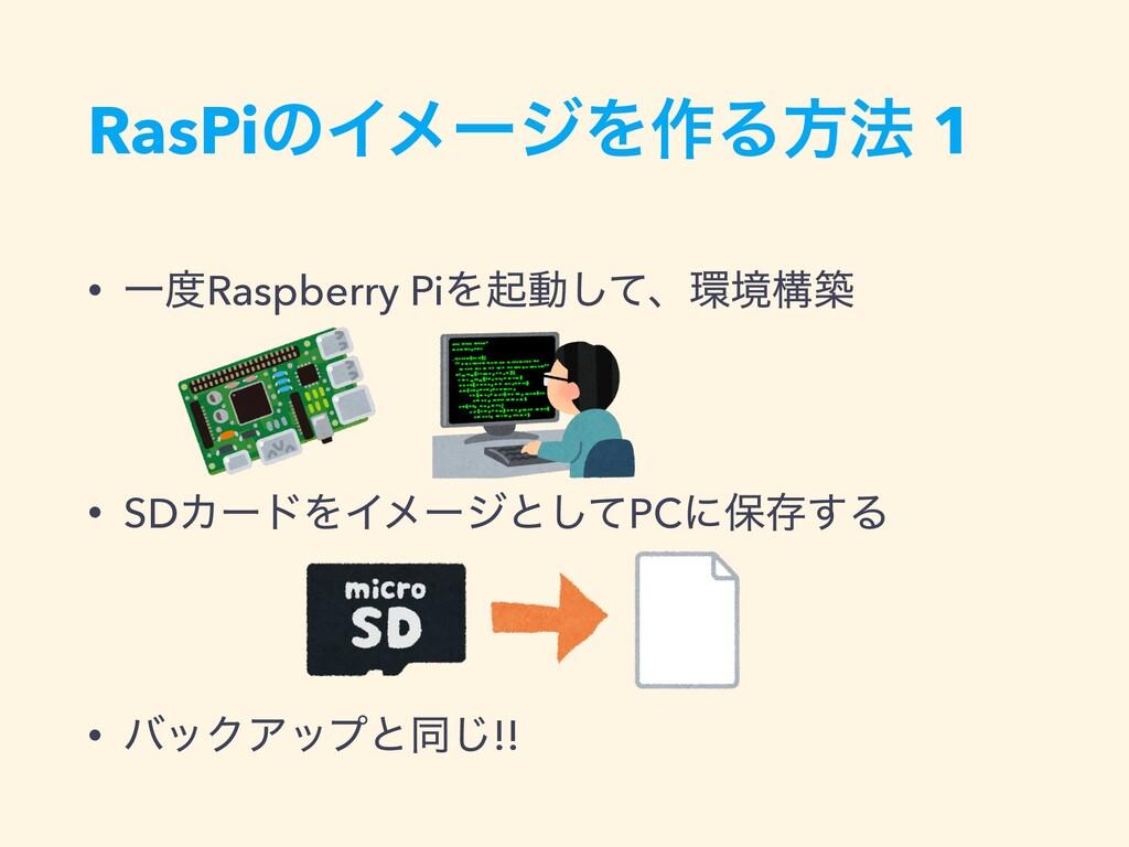 RasPiͷΠϝʔδΛ࡞Δํ๏ 1 • ҰRaspberry PiΛىಈͯ͠ɺڥߏங • ...