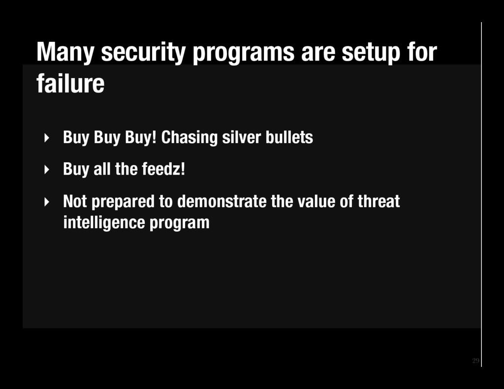 29 ‣ Buy Buy Buy! Chasing silver bullets ‣ ...
