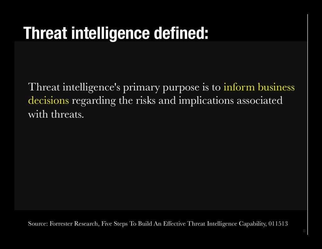 8 Threat intelligence defined: Threat intellig...