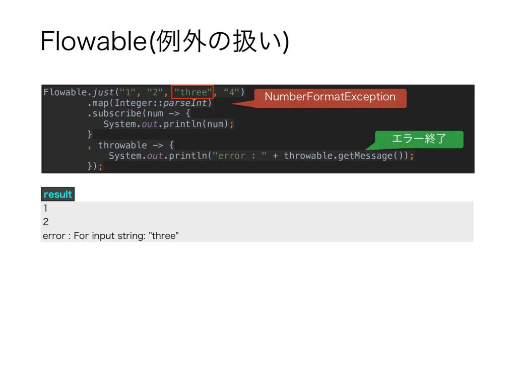 "'MPXBCMF ྫ֎ͷѻ͍  Flowable.just(""1"", ""2"", ""three""..."