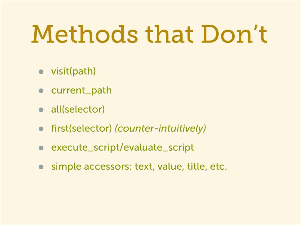 Methods that Don't • visit(path) • current_path...