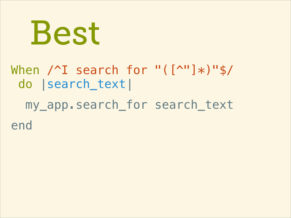 """Best When /^I search for """"([^""""]*)""""$/ do 