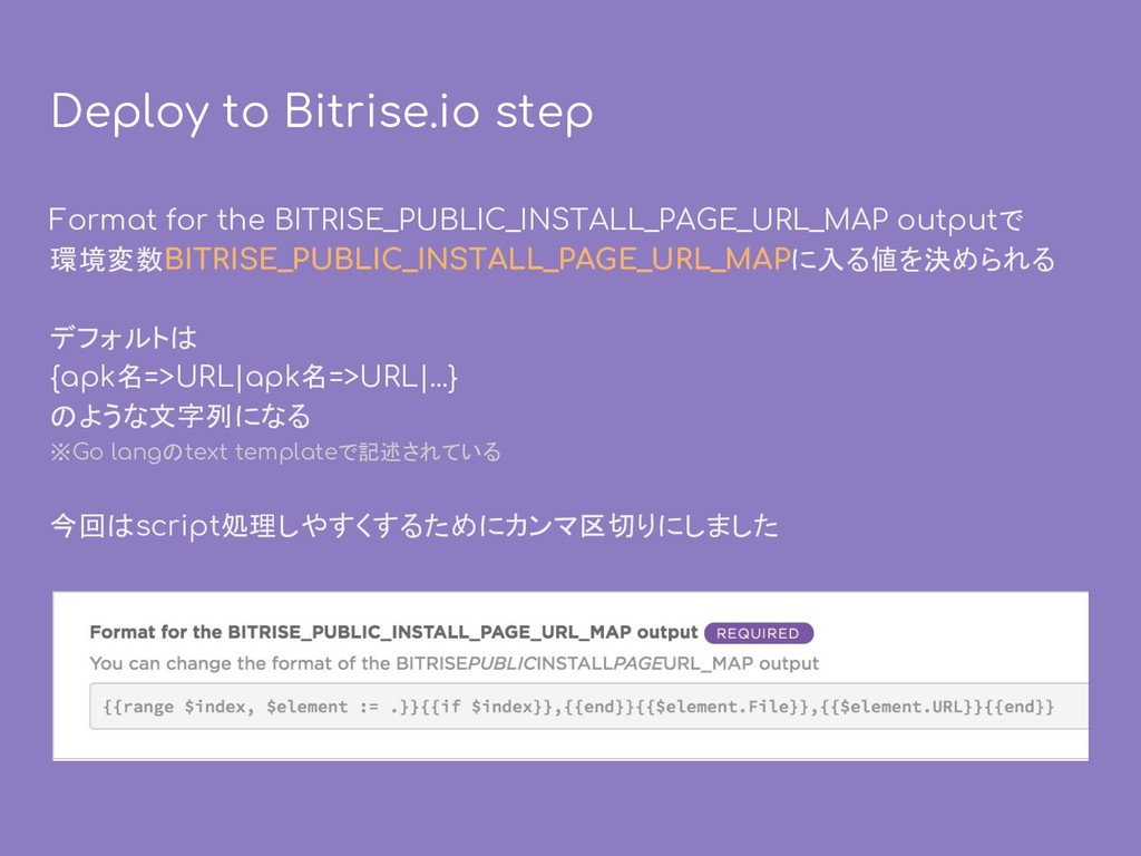 Deploy to Bitrise.io step Format for the BITRIS...