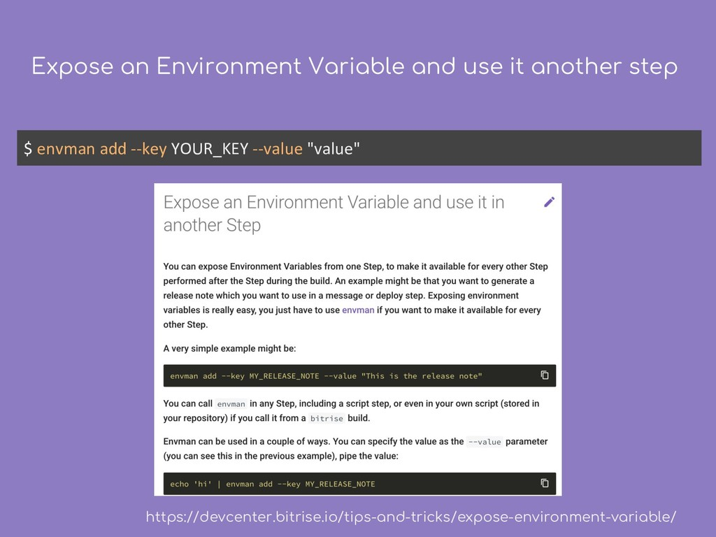 Expose an Environment Variable and use it anoth...