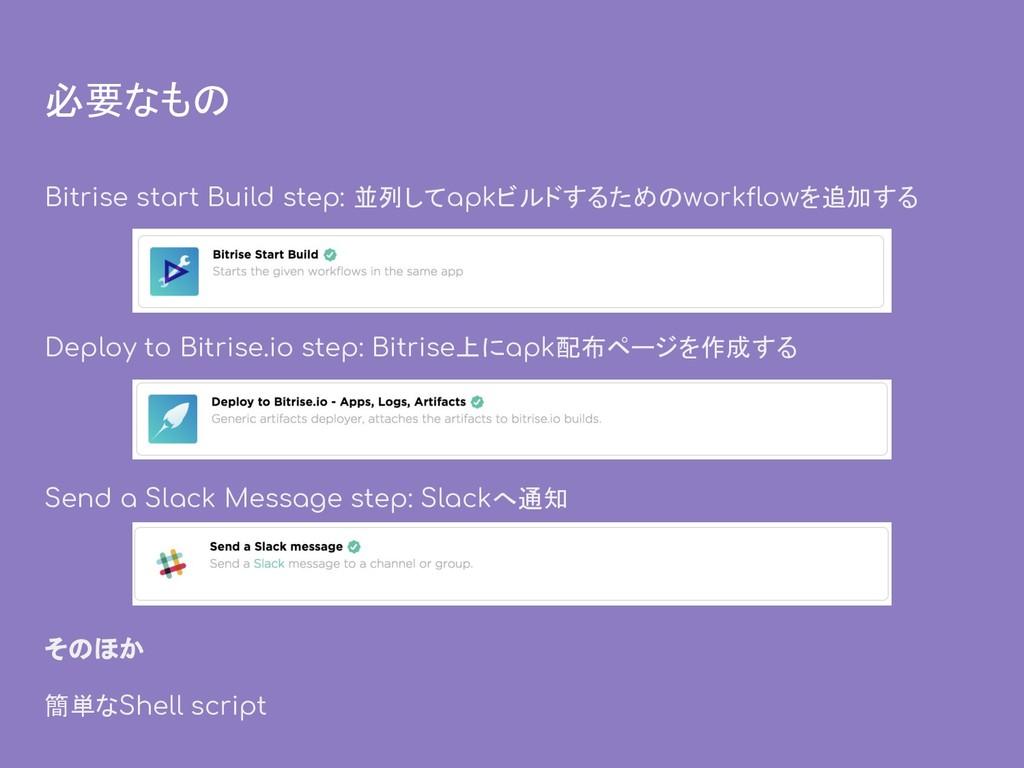 必要なもの Bitrise start Build step: 並列してapkビルドするための...