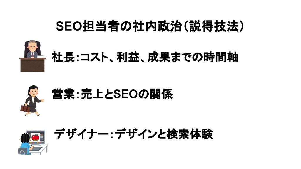 SEO担当者の社内政治(説得技法) 社長:コスト、利益、成果までの時間軸 営業:売上とSEOの...