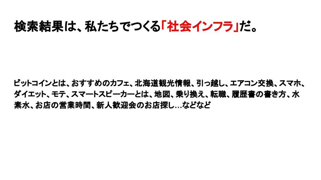 検索結果は、私たちでつくる「社会インフラ」だ。 ビットコインとは、おすすめのカフェ、北海道観光...