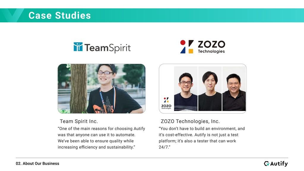 Case Studies 02. About Our Business Team Spirit...