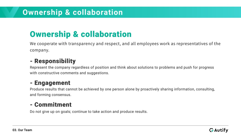 Ownership & collaboration 03. Our Team Ownershi...