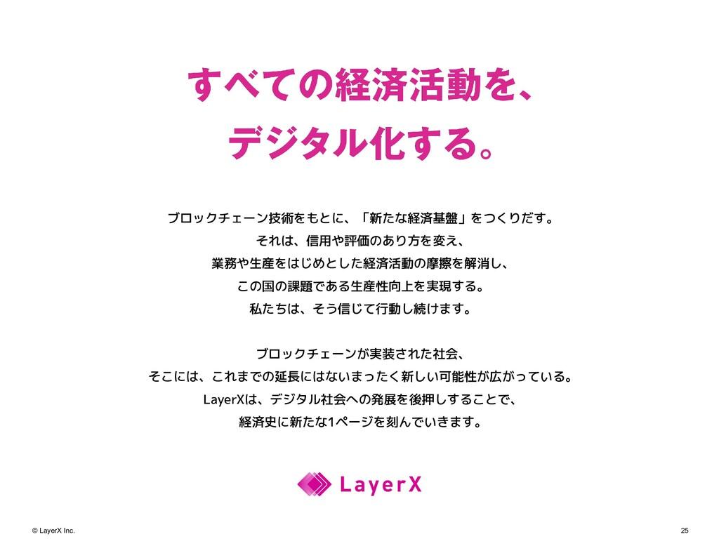 25 © LayerX Inc. ブロックチェーン技術をもとに、「新たな経済基盤」をつくりだす...