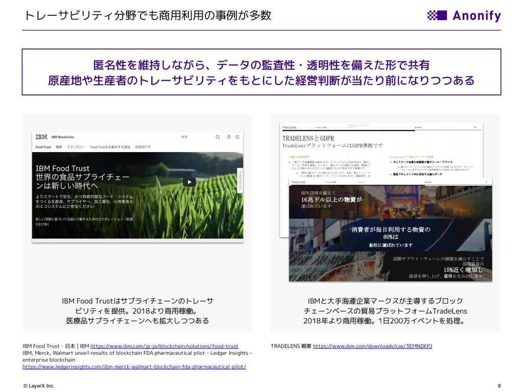 8 © LayerX Inc. トレーサビリティ分野でも商用利用の事例が多数 IBM Food...