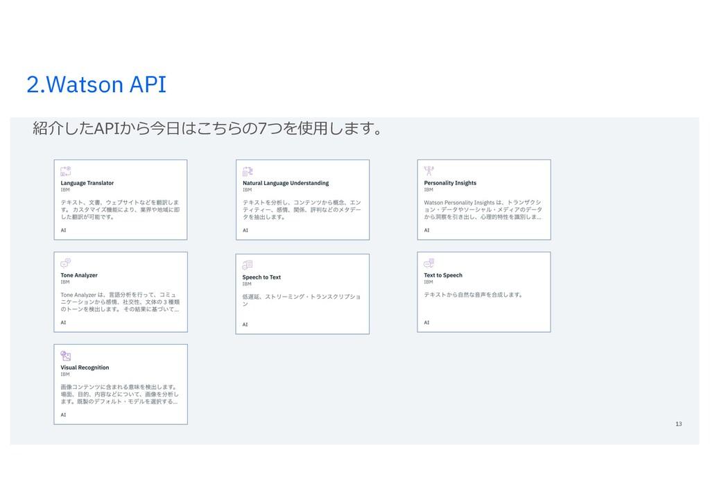 2.Watson API 13 紹介したAPIから今⽇はこちらの7つを使⽤します。