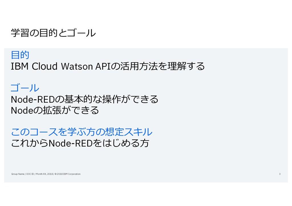 学習の⽬的とゴール ⽬的 IBM Cloud Watson APIの活⽤⽅法を理解する ゴール...