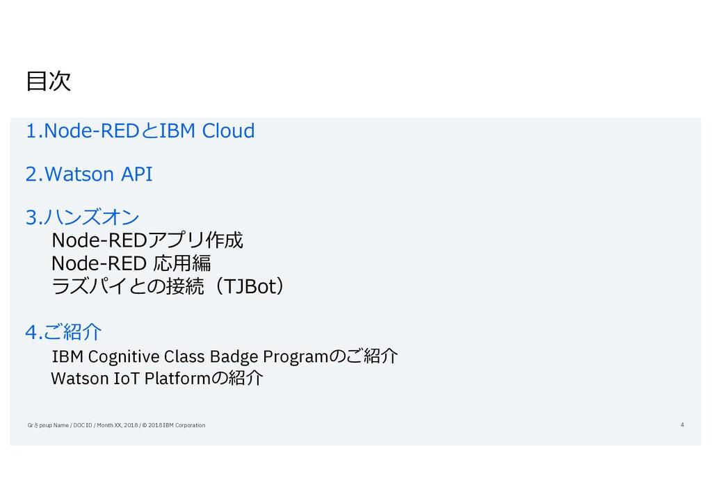⽬次 1.Node-REDとIBM Cloud 2.Watson API 3.ハンズオン No...